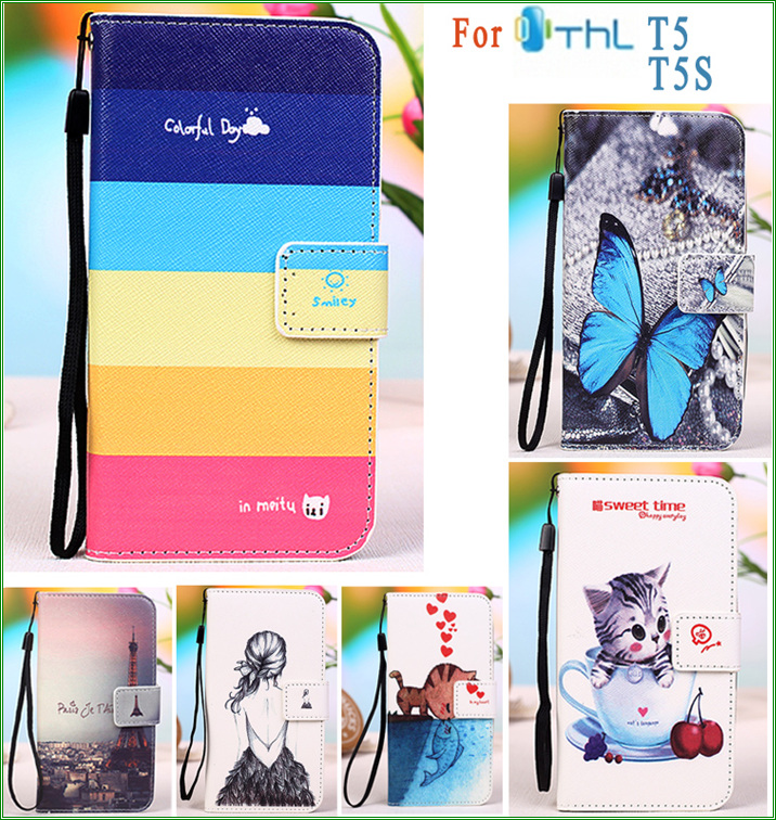 for THL T5S T5 PU Leather Case Butterfly Eiffel Tower Owl Kitty Cat kiss fish Girl Flag Phone Cover Case for THL T5 T5S