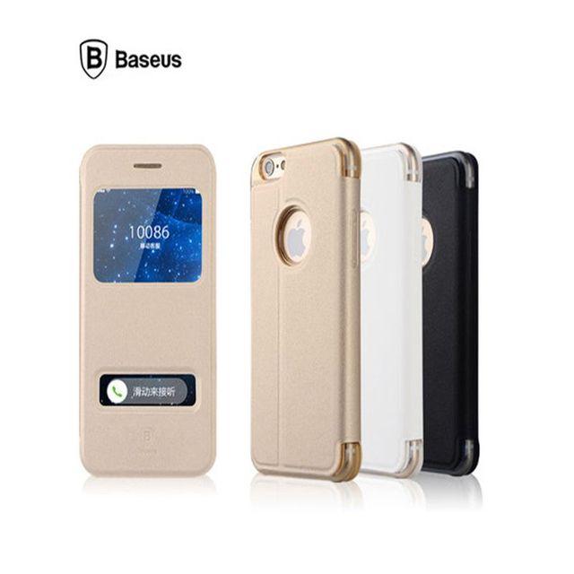 2016 marca original baseus flip caso inteligente para iphone 6 4.7 além de 5.5 polegadas Capa Open Window View Stand Livro de Couro Bolsa de Telefone