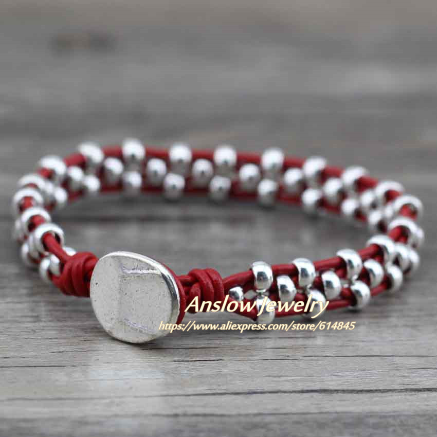 Anslow New Arrival Items Healthy Zinc Alloy Beads Women Men Girls Leather Bracelet Bijoux Charm Jewelry Accessories LOW0383LB 12