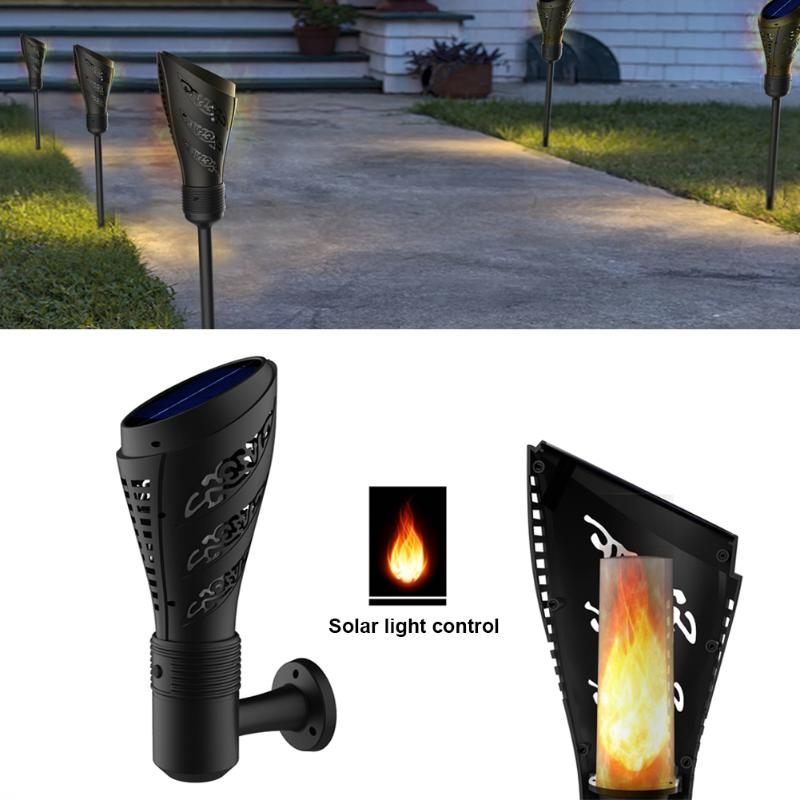 Solar Torch Shape Light Waterproof LED Solar Energy Light Halloween Christmas Lights Double Installation Mode Garden Decoration