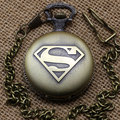 Vintage Bronze Steampunk Superman Pocket Watch with Necklace Chain P442C