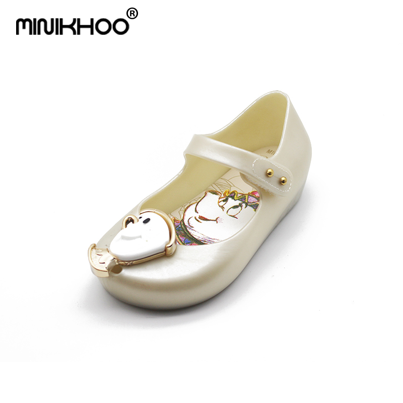 Mini Melissa Beauty and the Beast Cup Girls Jelly Sandals For Children Sandals Breathable Jelly Shoes Beach Sandals 15cm-18.5cm