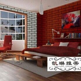 Décoration de ménage chambre à coucher salle à manger réglage mur simulation briques papier peint blanc brique grain solide rouge brique mur autocollant