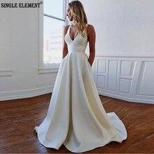 SINGLE ELEMENT Beach Wedding Gowns A-Line Modest Dresses