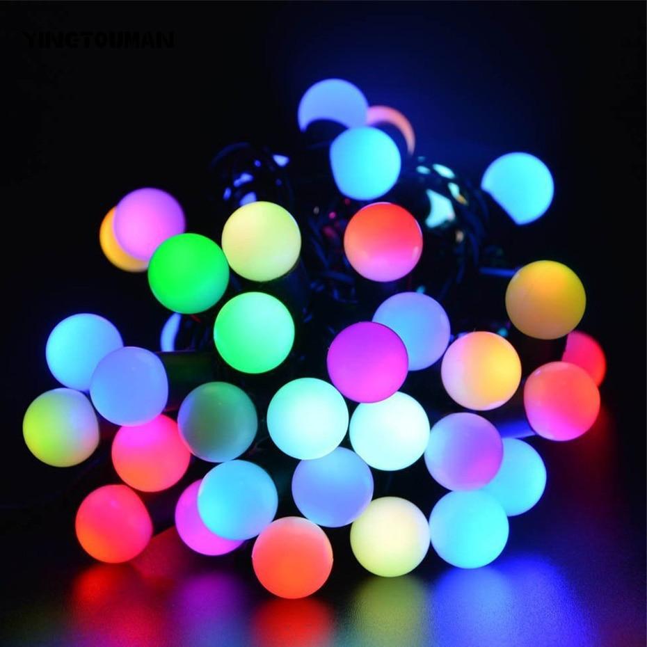 YINGTOUMAN Solar Lamps 30LEDs Ball Colorful Fairy Outdoor Solar Light Garden Christmas Party Decoration String Lights 6m