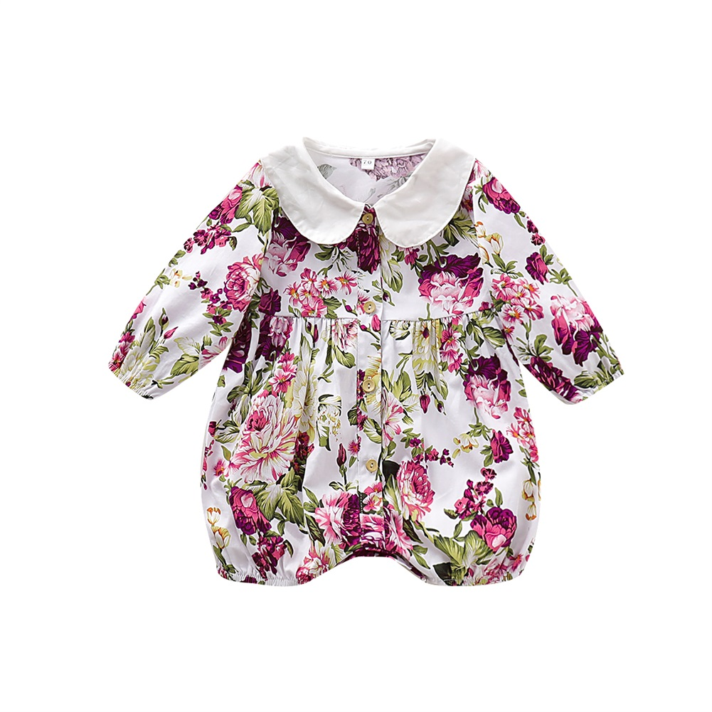 0 24M Newborn Baby Girls Floral Rompers Long Sleeve Jumpsuit Playsuit Peter Pan Collar Flower Baby Costume Autumn Clothes in Rompers from Mother Kids