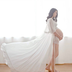 Maternity Pregnant women Photography Fashion Props Long Dress white Romatic See-Through Personal portrait Nightdress Size S~L