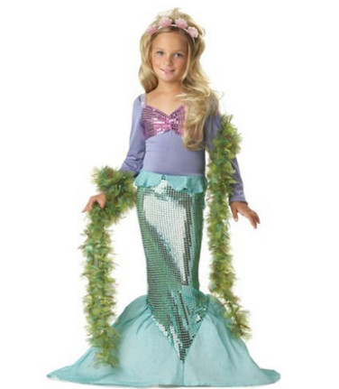 girl mermaid costume Kids Swimmable Mermaid Tail Biquini maillot de bain summer spliced dress costume Age 2-8 Ylittle mermaid