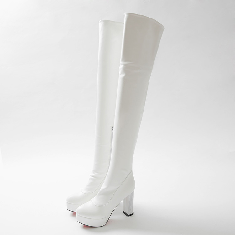 Loisirs Genou D'hiver Sexy Femmes blanc Chaussures Pointu Talons Nouvelle Mode Cuir Longues 8093 En Élégant Noir Hauts Le Bout Bottes Sur YTw8Bq