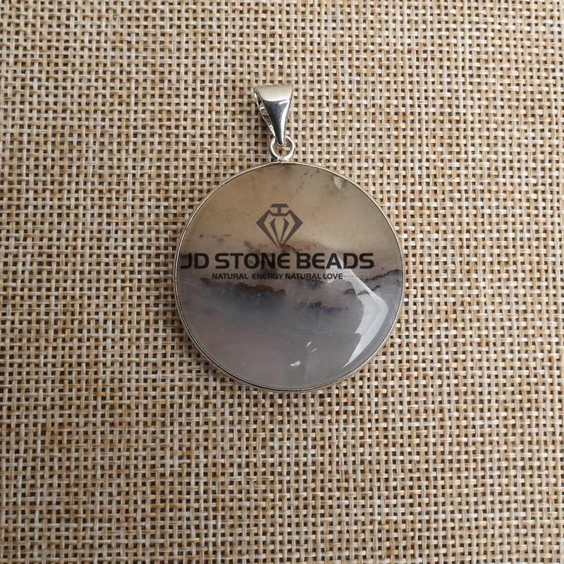 Gratis Pengiriman Tanaman Alami Batu Akik Bulat Bentuk Liontin Desain Pribadi Hadiah Aksesori