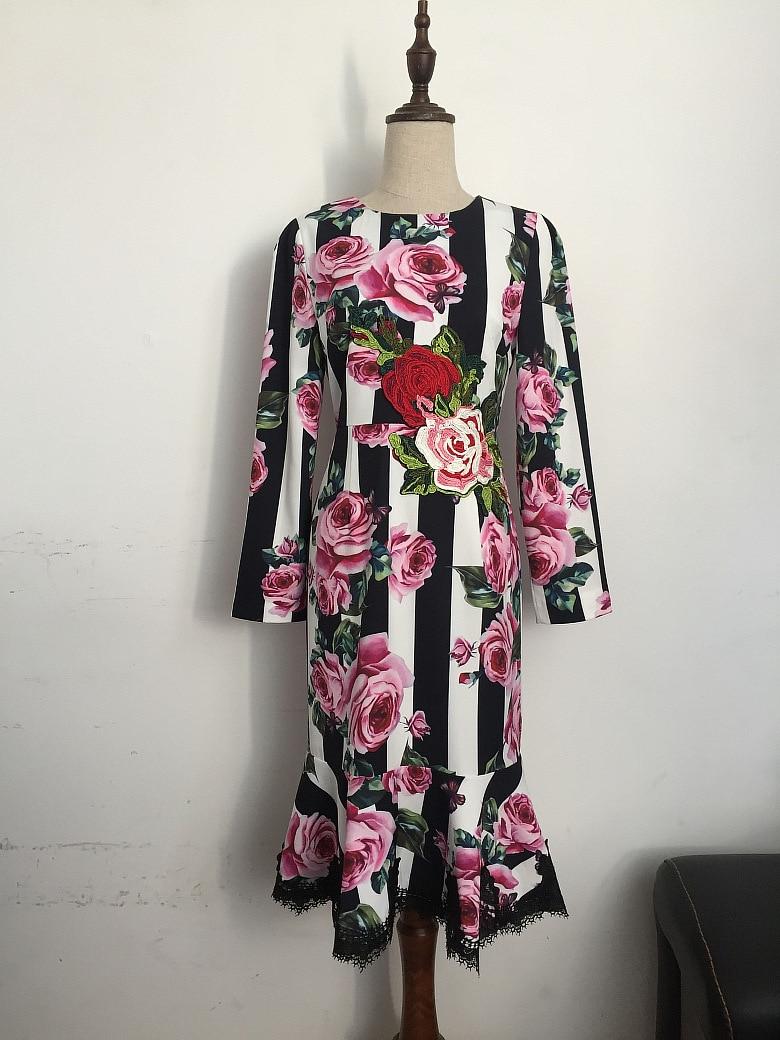 Urumbassa long sleeve rose print dress New 2018 spring runways embroidery stripe fishtail S201