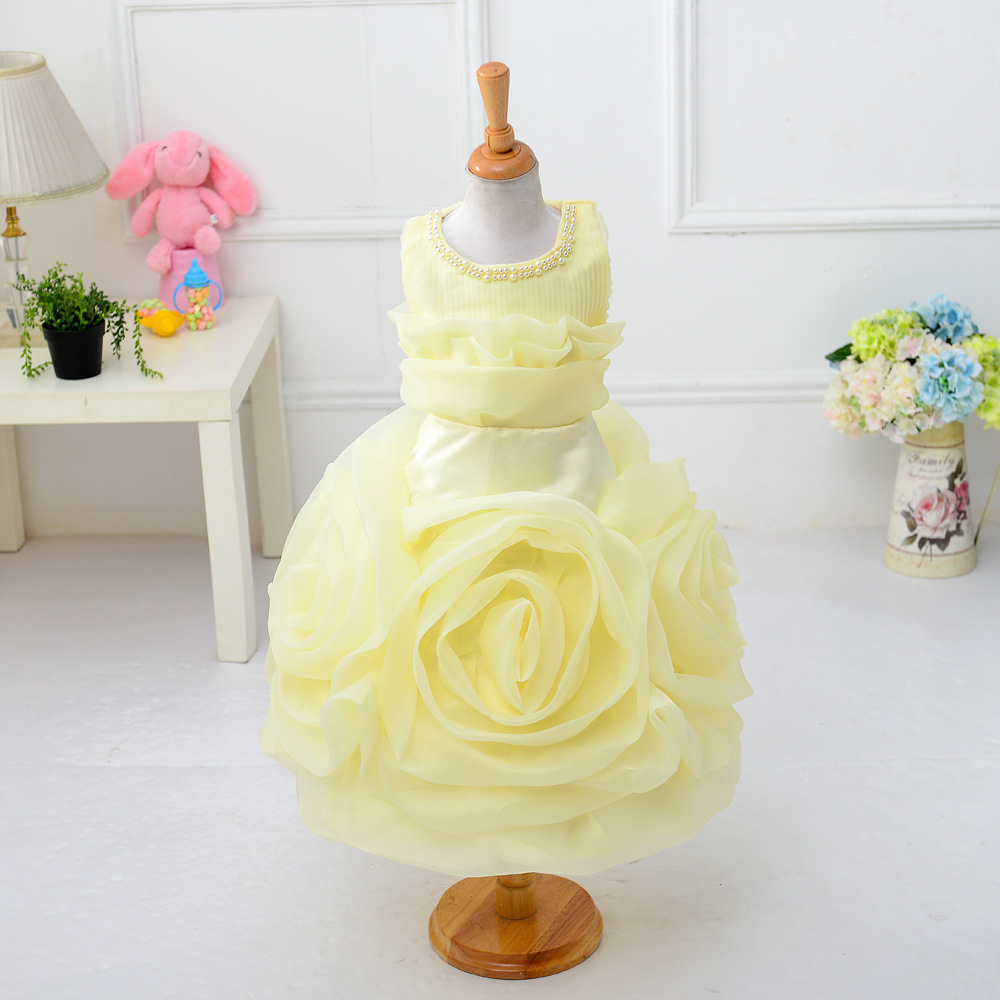 New Arrival Baby   Flower     Girl     Dresses   Beautiful Rose Pleat First Communion   Dress   Solid Ball Gown