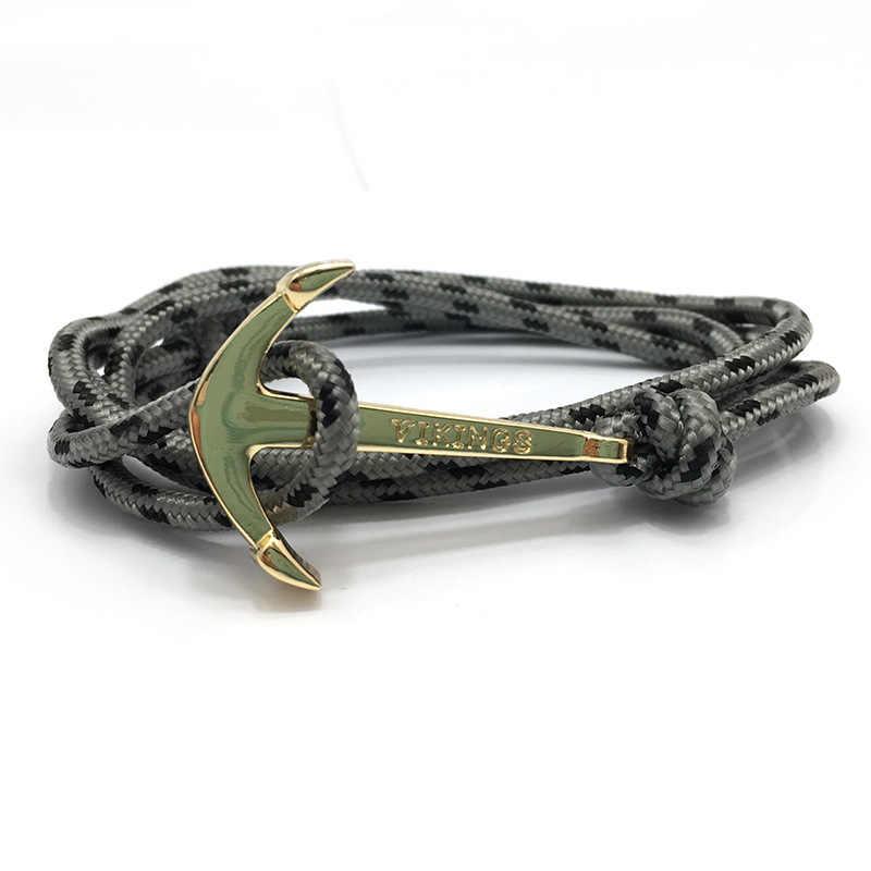 HOMOD rocznika urok kotwica bransoletki i Bangles dla kobiet mężczyzn gorące, ręcznie robione, liny bransoletka złoty kolor kotwica bransoletka