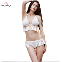 New Crochet Bikinis Swimwear Women Halter Push Up Swimsuits Sexy Brazilian Biquini Tassels Girls Beach Bikinis