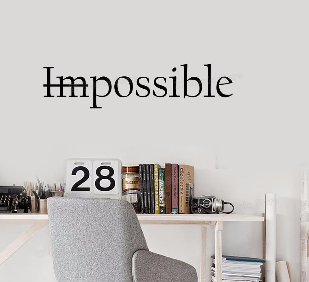 Motivation Quote Words Impossible Possible Vinyl Wall Decal Stickers Bedroom Inspiring Letters Wall Stickers Office Decor S630