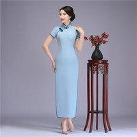 Высокое качество для женщин сплошной цвет Длинные Cheongsam Винтаж ручной работы и пуговицы Qipao Китайский стиль пикантные разделение Vestidos сцени