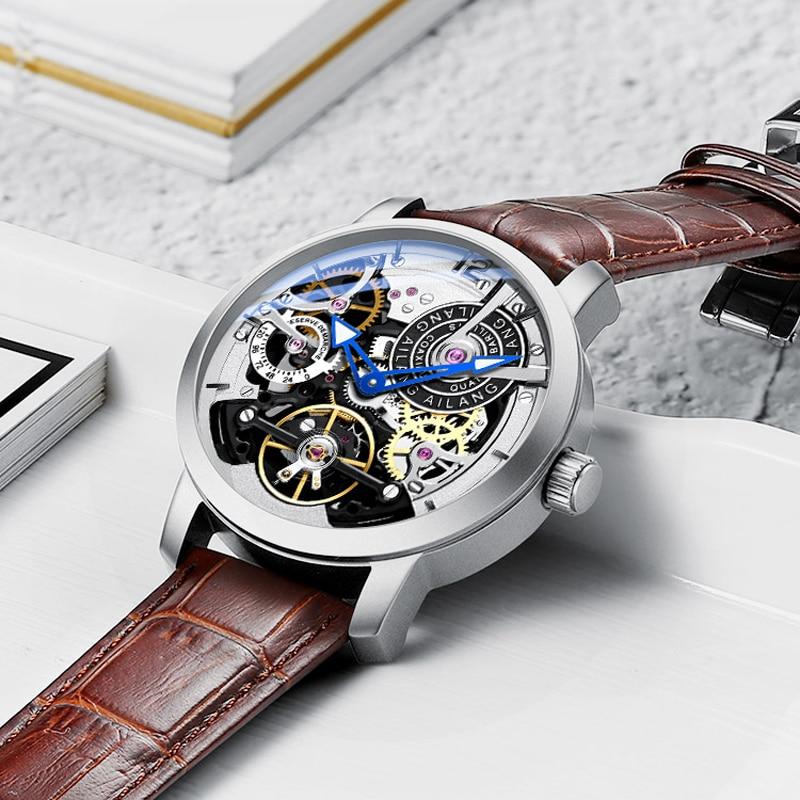 AILANG squelette automatique montres mécaniques pour hommes montre bracelet en cuir et en acier noir Tourbillon horloge étanche hommes montre-in Montres mécaniques from Montres    2