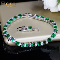 8 Color Options Square Emerald Green Topaz Crystal Stone Bracelet For Ladies 925 Sterling Silver Women