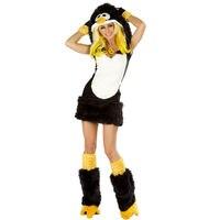 Kadınlar için yetişkin deluxe penguen kostümler cadılar bayramı hayvan fantezi fantezi dress