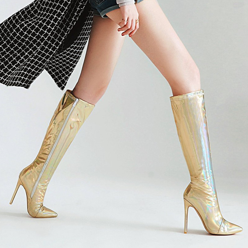 MStacchi femmes genou bottes hautes talon aiguille cuissardes fermeture éclair or argent miroir PU Botas Mujer Sexy bout pointu talons hauts-in Bottes hautes from Chaussures    3