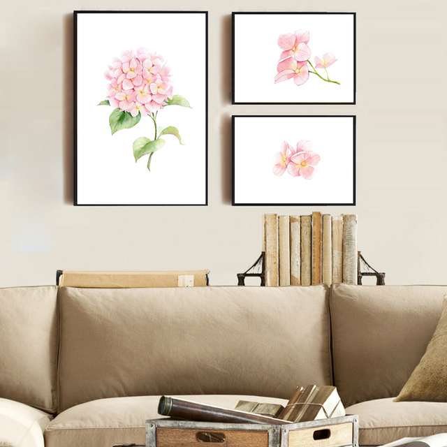 3 98 27 De Reduction Moderne Populaire Toile Art Impression Peinture Aquarelle Hortensia Macrophylla Fleur Mur Art Photo Pour La Decoration