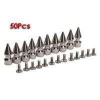 Gsfy-50pcs cono spikes screwback espárragos ronda Bases para DIY Cuero