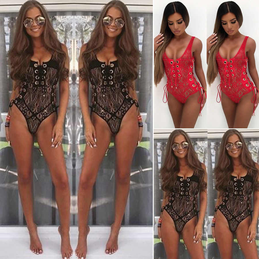 Summer women's 2019 new four-color lace round hole vest jumpsuit nightclub must-have sexy jumpsuit skin-friendly comfort fabric