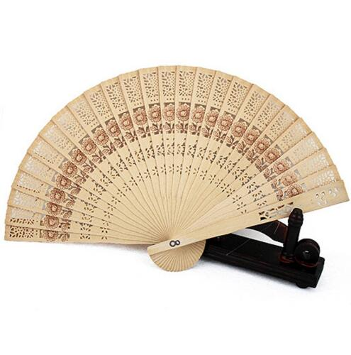 2018 new 100pcs  Chinese Japanese Wooden Hollow Flower Hand Folding Fan Wedding