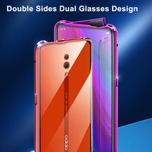 For OPPO Reno 10X Zoom Case Dual Double Sides Tempered Glasses Magnetic Adsorption Metal Bumper Full Protect Cover