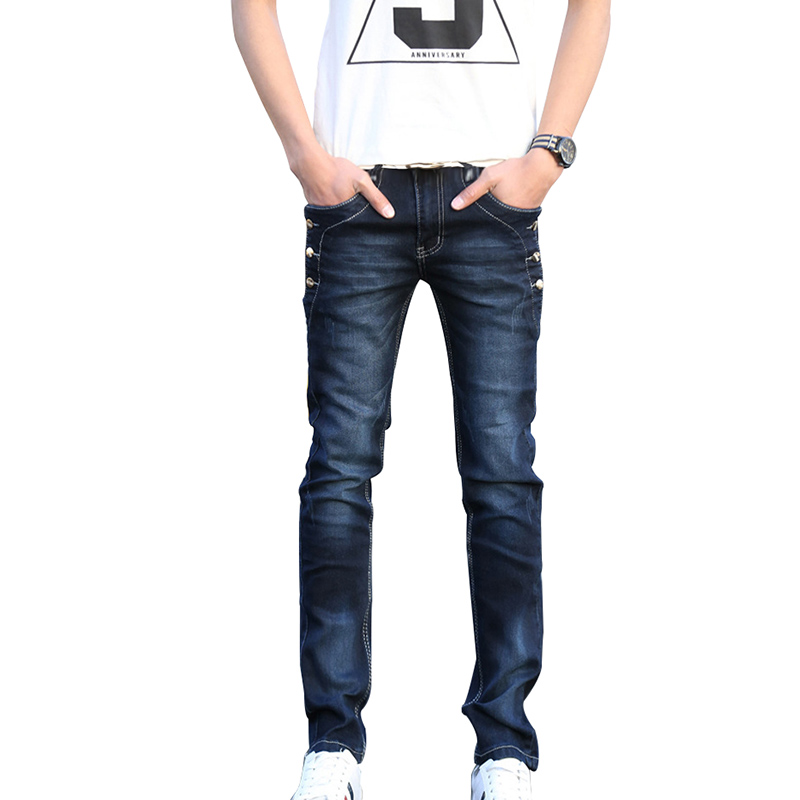 Idopy Fashion Mens Solid Jeans Retro Vintage Washed Straight Fit Denim Pants Blue Black Jean Joggers With Button For Youth