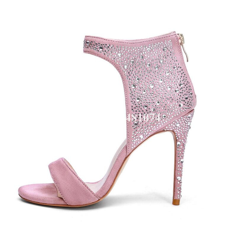 Bling Rosa Sandalen Hinten Schuhe Dünne Damen Mode Elegante Ferse Flock Blingn As Hohe Sommer Picture Offene Temperamen Frauen Spitze Zpper Kristall IvvUxPrq