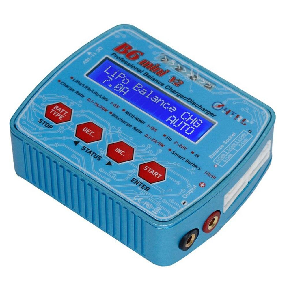 HOT SALE HTRC B6 Mini V2 70W 7A Professional Digital RC Balance Charger Discharger for Lipo Lihv LiIon LiFe NiCd NiMH Battery skyrc sk 800084 01 b6 mini 6a 60w dc11 18v professional balance charger discharger w t 2 6lcd