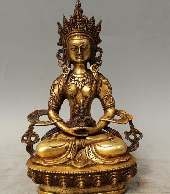 Free shipping wholesale factory 8 Tibet Buddhism Bronze Gilt Seat Amitayus longevity God Goddess Buddha Statue