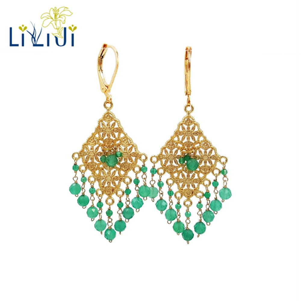 LiiJi Unique 925 sterling silver Natural Emeralds color Green Onyx Drop Dangle Shining Tassel Statement Earrings