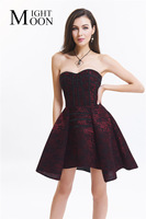 MOONIGHT Black/Red/White Floral Print Elegant Corset Dress Lace Up Back Strapless Bridal Corselet Sheer Bustier Corset