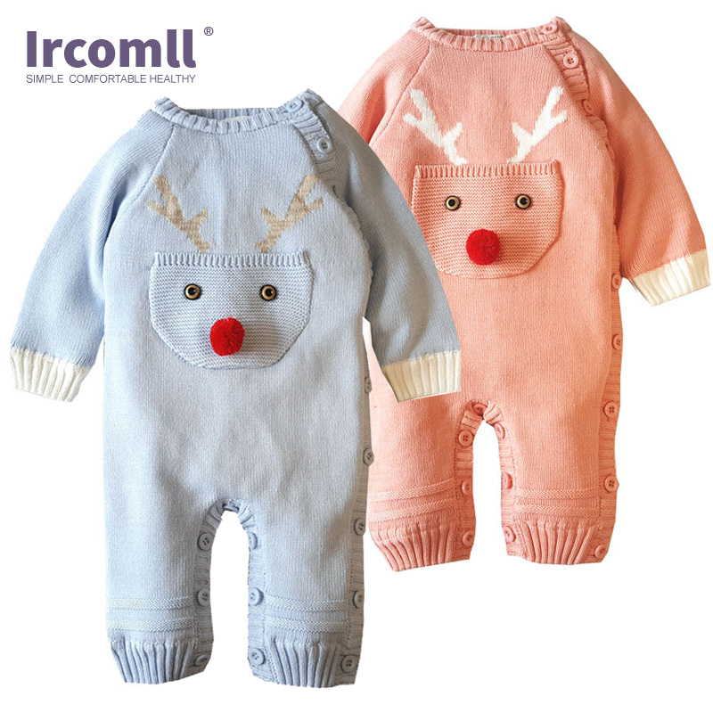 Ircomll 2018 Thick Newest bebe Baby Rompers Cotton Cartoon Elk Beer Coralline Baby Boy Girl Clothes Infant Warm Matching outfits