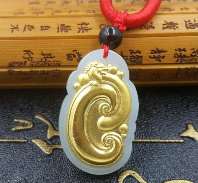 2018 haute qualité pierre naturelle Hetian Jades Wishful pendentif collier chanceux amulette pendentif pour hommes femmes meilleur cadeau