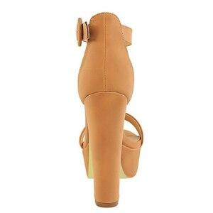 Image 3 - 브랜드 우아한 샌들 여성 하이힐 펌프 슈퍼 하이힐 13cm 여성 연회 샌들 방수 플랫폼 발가락 샌들