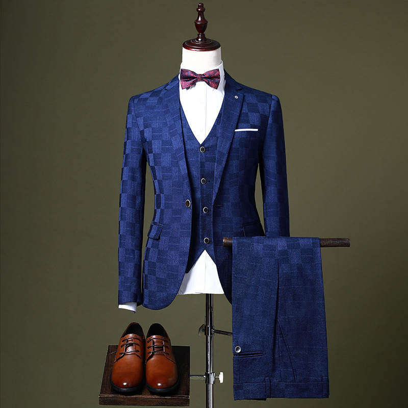 HO 2020 Men Groom Wedding Dress Youth Shadow Grid Of Cultivate One's Morality Leisure Suit A Three-piece Suit