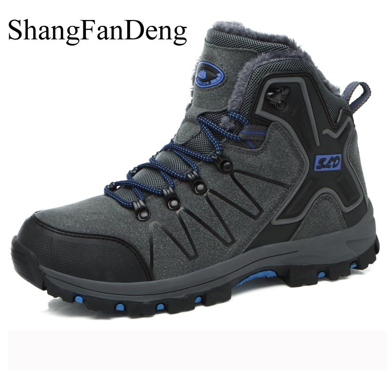 Men Boots Sneakers Shoes Rubber-Sole Waterproof Winter Men's Brand Warm Fur Ankle