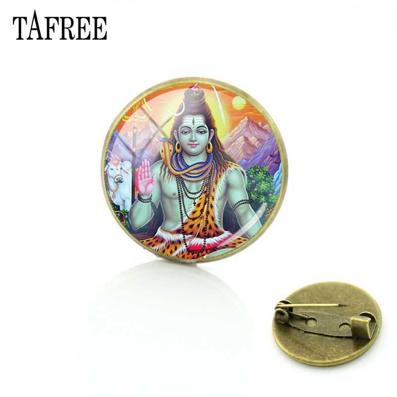 TAFREE 有名な主シヴァ画像ブローチグッドデザインピンアップ tシャツバッグアクセサリーガラスヴィンテージヒンドゥー教ジュエリー LS67