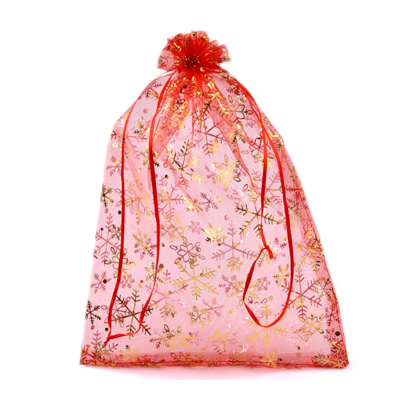 Red Christmas Snowflake Organza Bags Wedding Gift Pouches Christmas ...