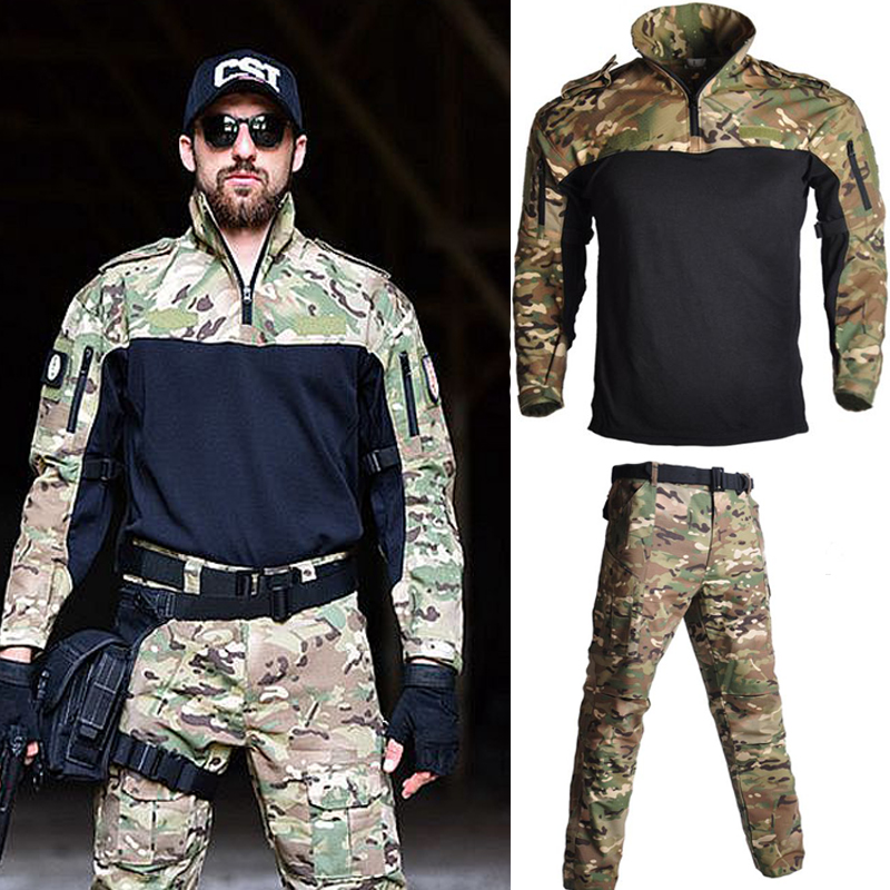 US Army Military Combat Uniform Frog Suit Long Sleeve Men Suits Outdoor Tactical Airsoft Sport Hunting Clothes