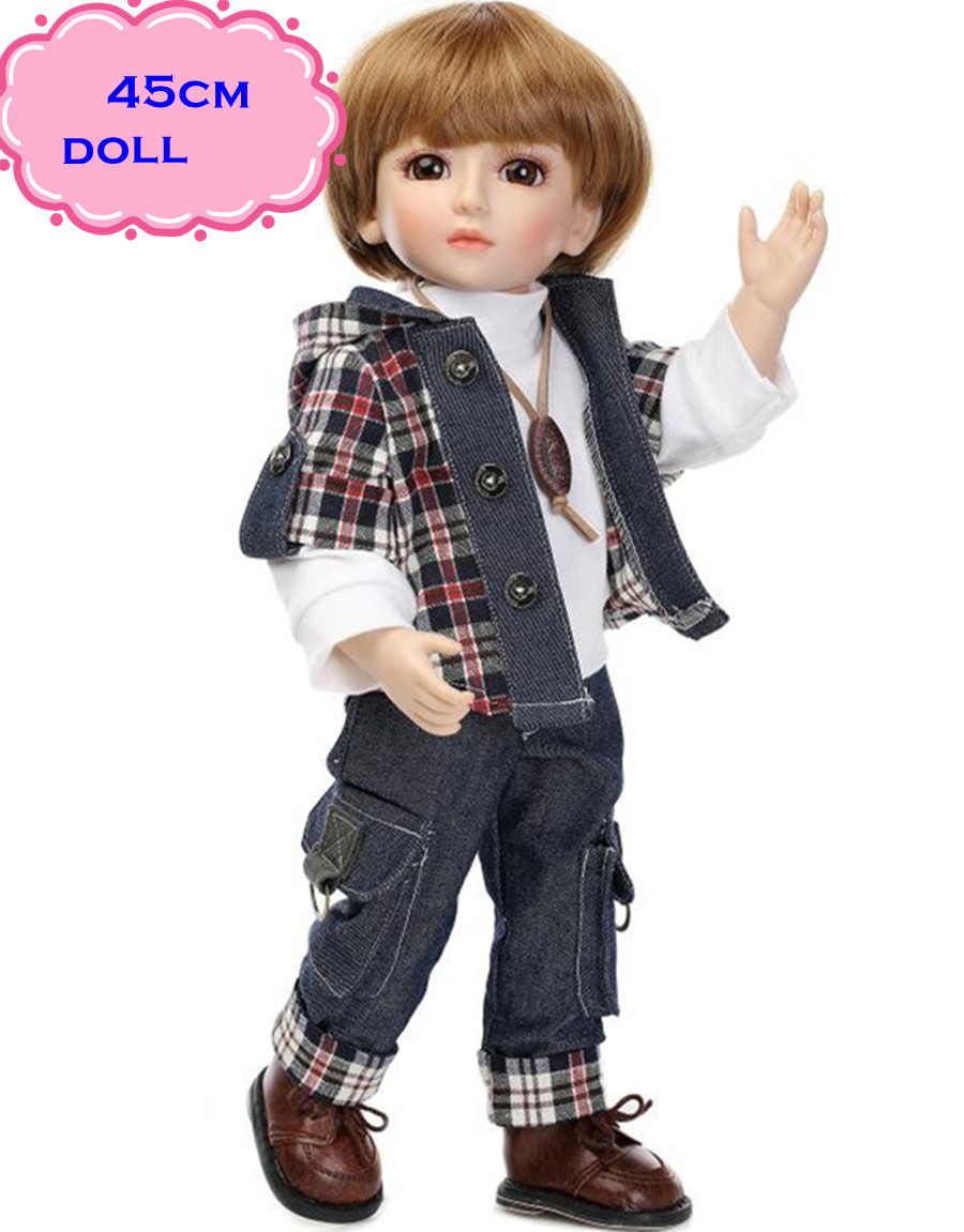 18inch Handmade Full Silicone Vinyl SD/BJD Doll Reborn With Professional Design Clothes For Dolls Must Be The Best Gift Of Kids 1 3rd scale 65cm bjd nude doll bazael bjd sd doll boy with face up not included clothes wig shoes and accessories