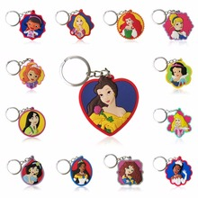 50PCS PVC Cartoon Princess Key Chain Lovely Anime Figure Ring Kids Toy Pendant Keychain Holder Charms Fashion Trinket