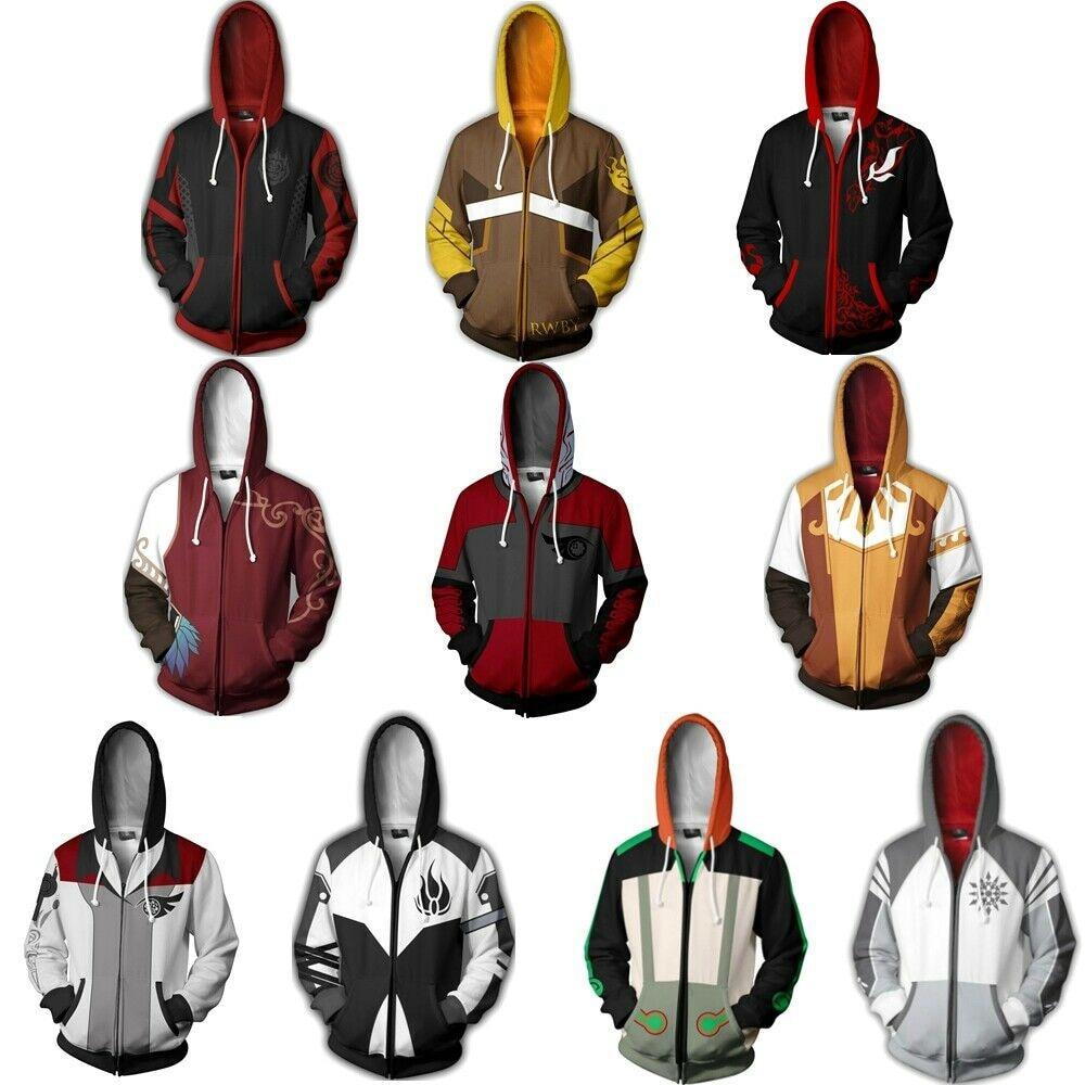 Anime RWBY Ruby Rose Cosplay Costume Men Women Fashion Hoodies Adam Taurus Sweatshirt Zipper Jacket Uniforms Coats Size S-5XL