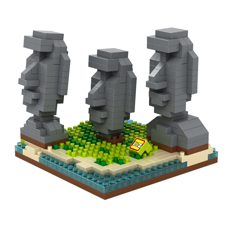 Loz mini diamond building block world Famous Architecture nanoblock easter island Moai Portrait stone model educational toys loz architecture famous architecture building block toys diamond blocks diy building mini micro blocks tower house brick street
