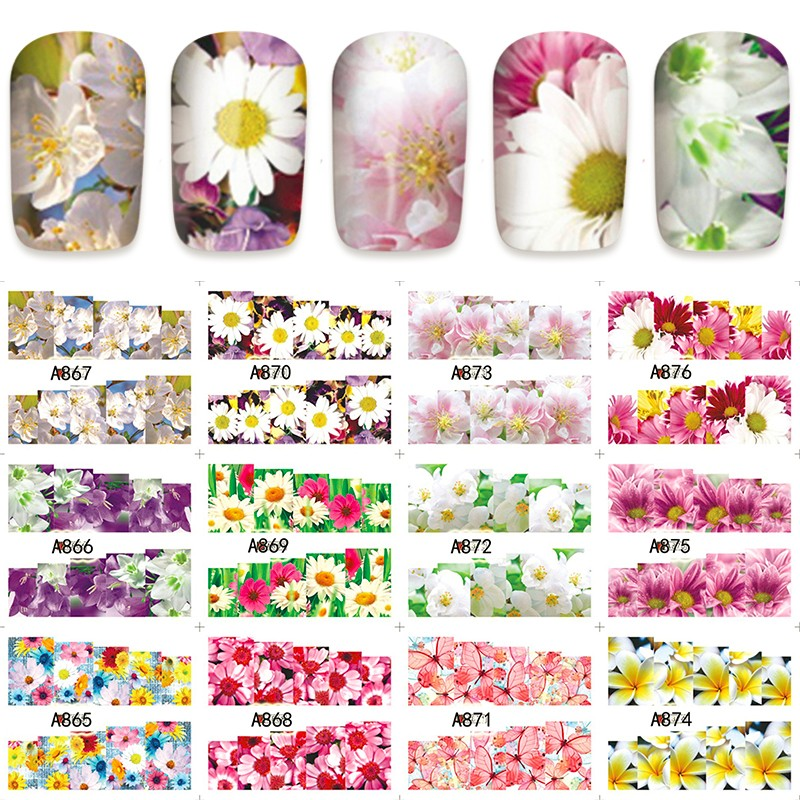 12 PACK/ LOT WATER DECAL NAIL ART NAIL STICKER SLIDER TATTOO FULL COVER BUTTERFLY ORCHID EVENING PRIMROSE A865-876 4 packs lot full cover white french smile lace tattoos sticker water decal nail art d363 366w