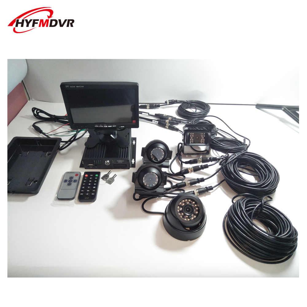 Paket 720 P HD MDVR kendaraan pemantauan 4 channel perekam video AHD kamera dapat disesuaikan