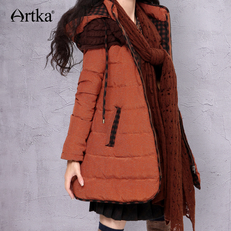 ARTKA Winter Down Jacket Women Thick Parka With Hood 2018 Warm Windbreaker Female Long Raincoat Duck Down Coat Women ZK16235D